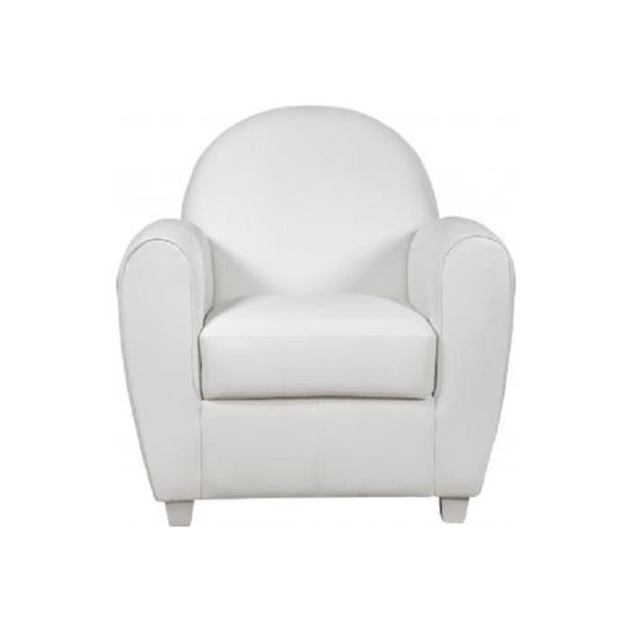 fauteuil club effet cuir blanc patricia achat vente fauteuil blanc cdiscount. Black Bedroom Furniture Sets. Home Design Ideas