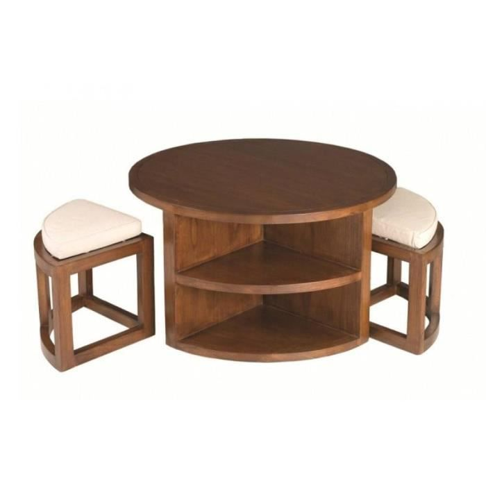 Ensemble table basse ronde 90cm 2 tabourets lauren en mindi style colonial - Table basse en soldes ...