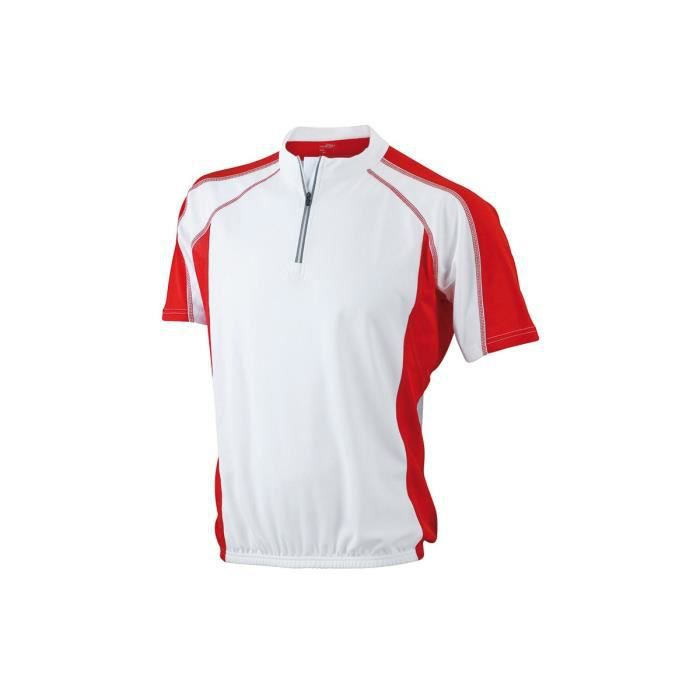 maillot cycliste blanc rouge achat vente maillot polo de sport cdiscount. Black Bedroom Furniture Sets. Home Design Ideas