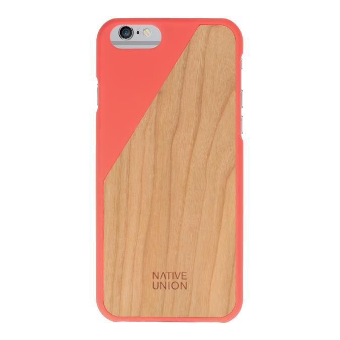 coque clic wooden iphone 6 corail native union