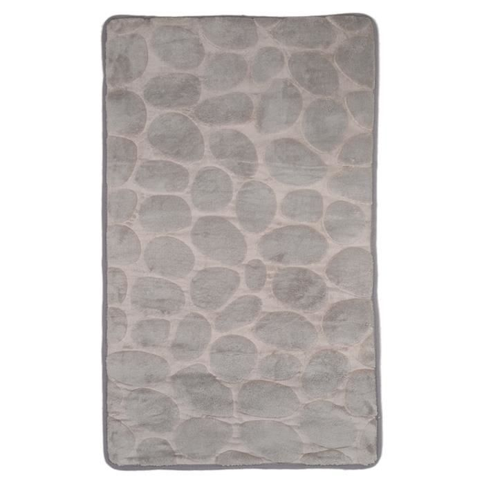tapis de salle de bain galets gris clair achat vente tapis de bain cdiscount. Black Bedroom Furniture Sets. Home Design Ideas