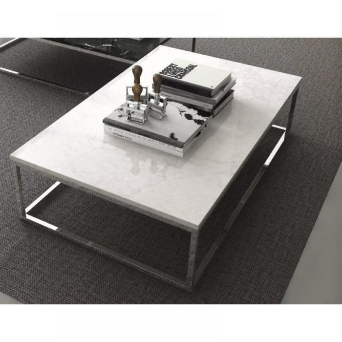 Prairie Table Basse Rectangulaire En Marbre Blanc Pietement