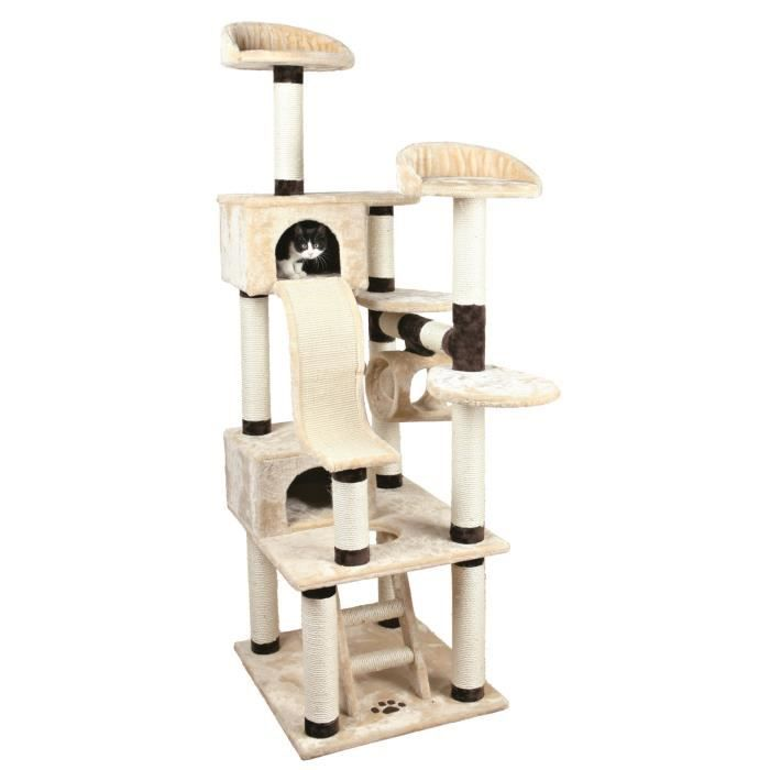 trixie adiva arbre chat hauteur 209 cm beige brun peluche et sisal naturel achat vente. Black Bedroom Furniture Sets. Home Design Ideas