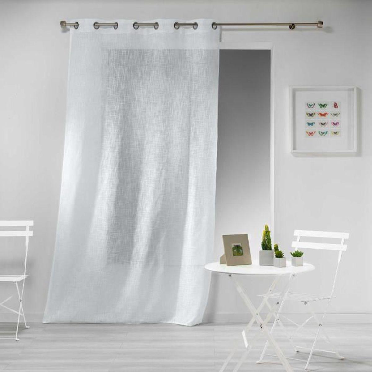 140x260 Dimensions Paire de double rideau aspect lin /épais blanc