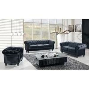 FAUTEUIL ENSEMBLE 3+2+1 PLACES CHESTERFIELD NOIR EN VELOURS