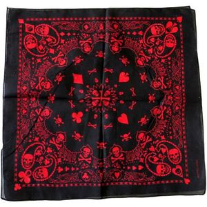 ECHARPE - FOULARD bandana noir tete de mort rouge neon