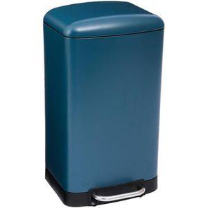 POUBELLE - CORBEILLE Poubelle rectangulaire à pédale 30L Bleu Mat