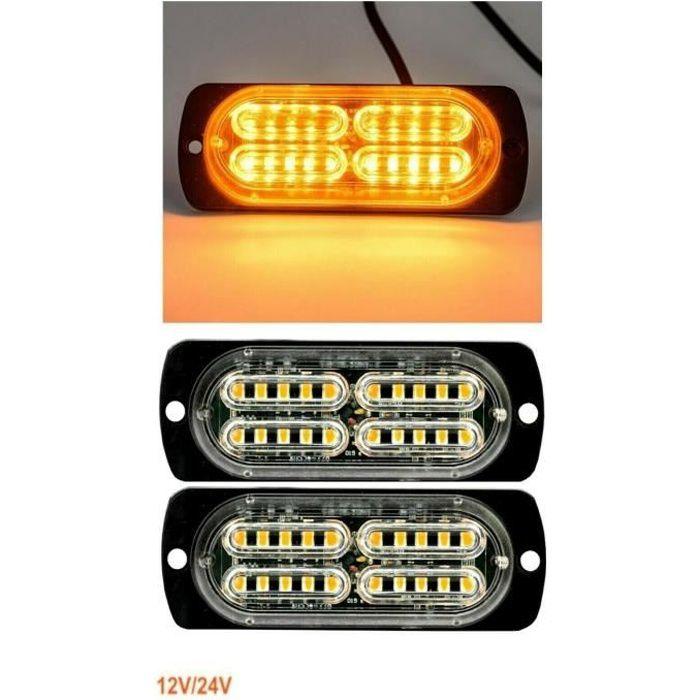 Lot De 2 Feux Lateraux Orange Flash Clignotant Stroboscopique 20 LED 12-24V 10W
