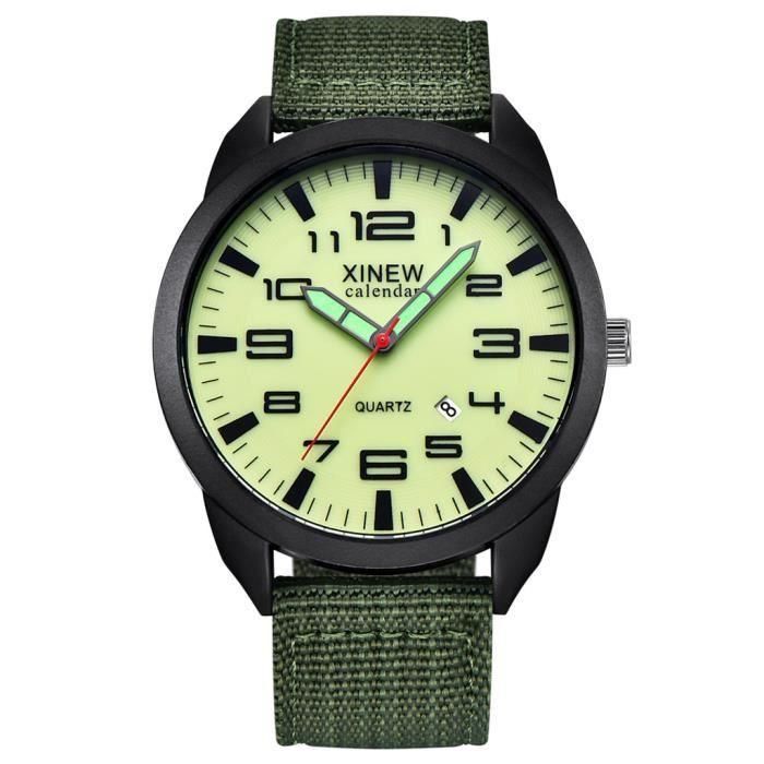 XINEW Outdoor Mens Date Acier inoxydable Militaire Sports Analogique Quartz Montre-Bracelet XYQ90801121D_non