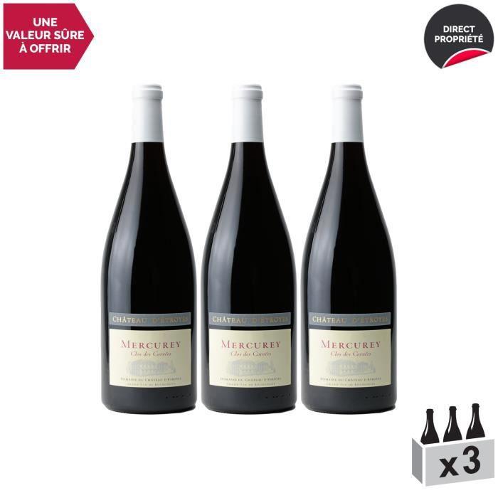 Mercurey Le Clos des Corvées MAGNUM Rouge 2018 - Lot de 3x150cl - Château d'Etroyes - Vin AOC Rouge de Bourgogne - Cépage Pinot Noir