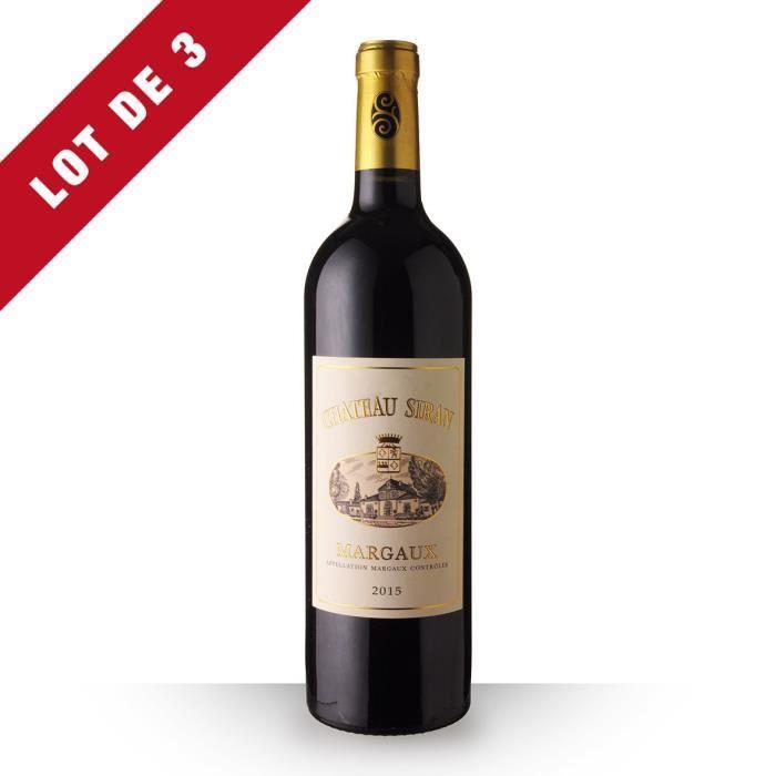 Lot de 3 - Château Siran 2015 AOC Margaux - 3x75cl - Vin Rouge
