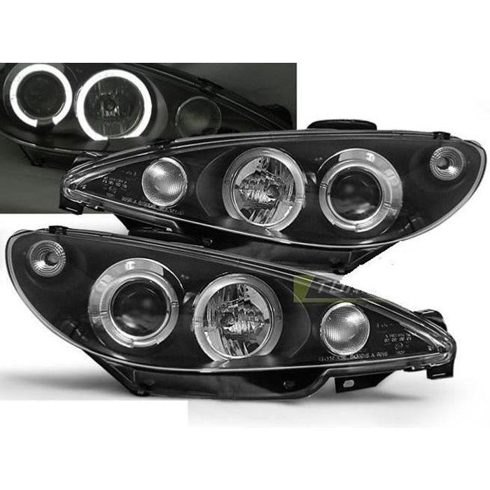 Paire de feux phares Peugeot 206 98-02 angel eyes noir-27361716