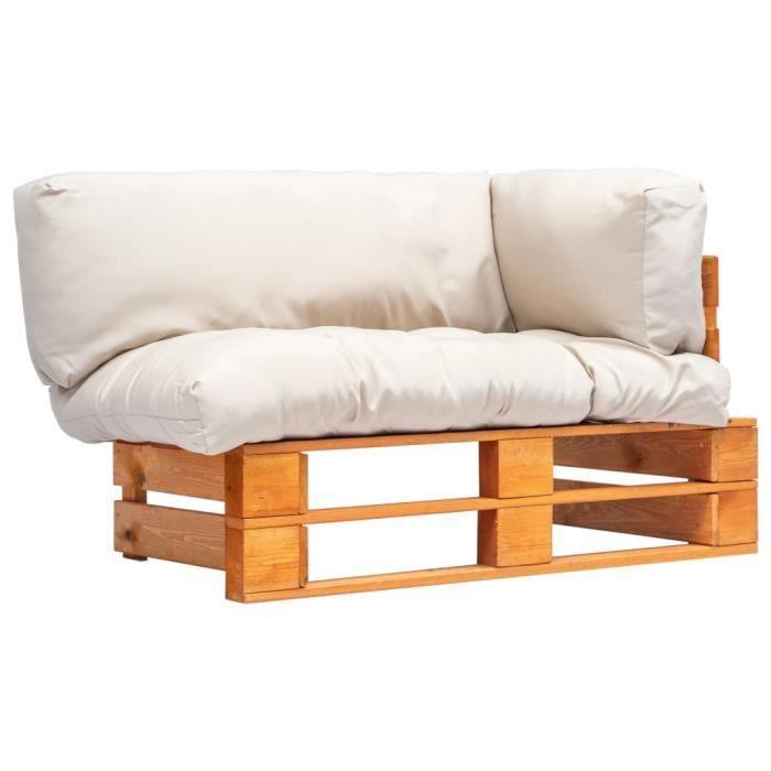 Magnifique -Canapé de jardin palette avec coussins Canapés de Terrasse, Jardin ou Salon Canapé d'Angle- Siège d'Extérieur - sable