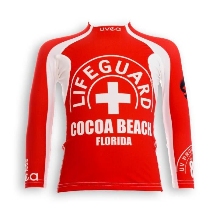 UVEA Teeshirt rashguard anti UV 80+ maillot manches longues INDIANA - Taille 2/4 ans - Couleur rouge