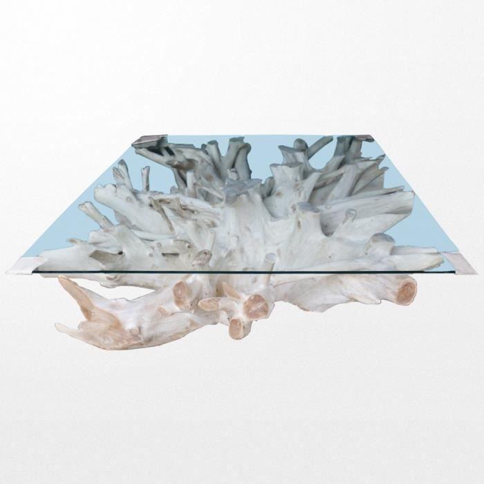 Table basse en teck et en verre de 80 x 80 x 43 cm