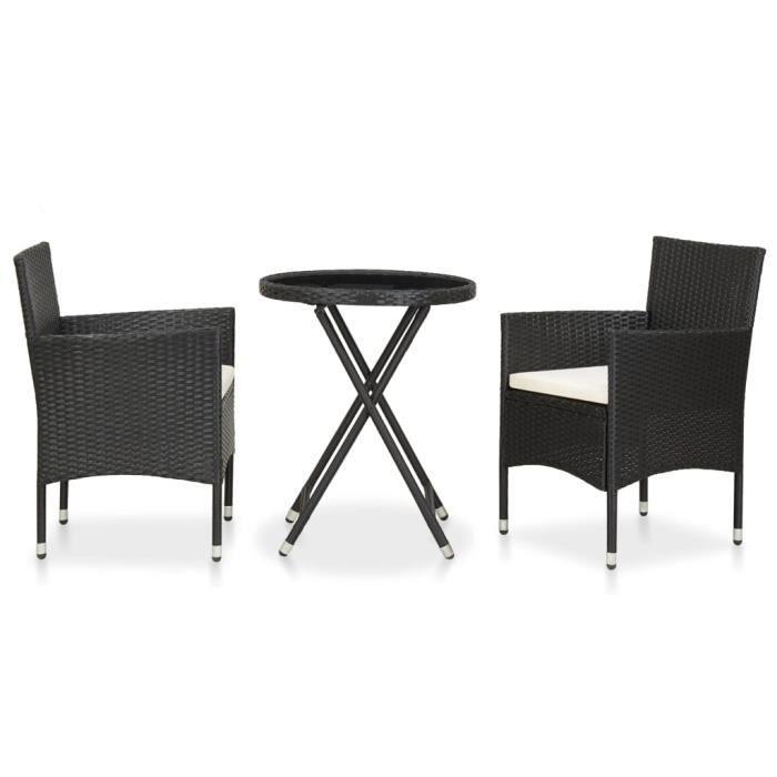 Mobilier de bistro 3 pcs - Salon de jardin Ensemble Table Et Chaise De Jardin Résine tressée et verre trempé Noir