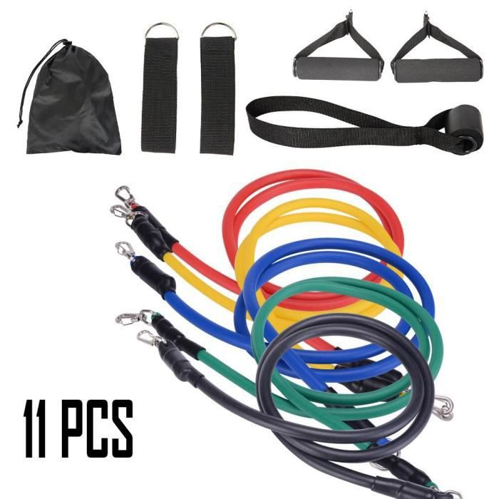 11 pièces Fitness bandes de résistance ensemble Fitness bandes élastiques corde tirer exercice bandes d'entr - 11 pcs set - KOBM7916