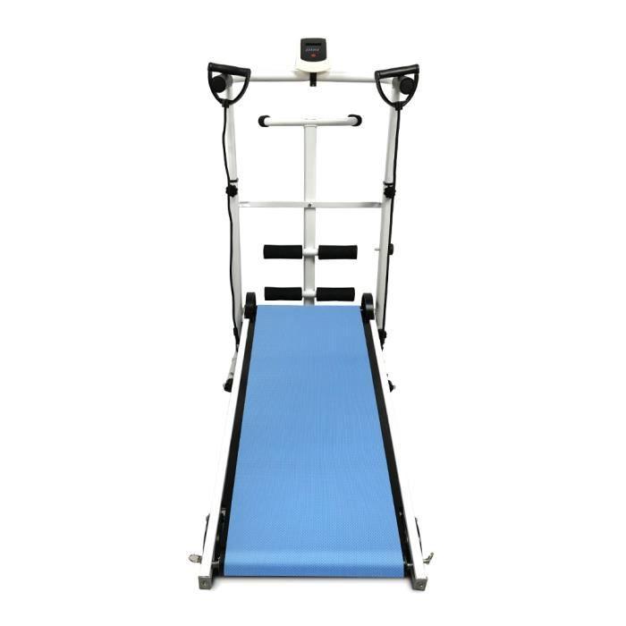 Tapis de course mécanique - tapis de marche pliable - Tapis Roulant + Sit-ups / corde / plaque tournante 3 en 1 - bleu