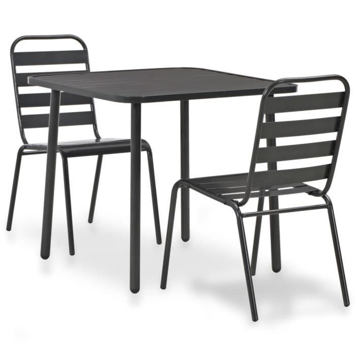 ��7672Luxueuse Magnifique- Mobilier de bistro 3 pcs - Ensemble à dîner de jardin Mobilier de Patio Table et Chaises de Terrasse Ense
