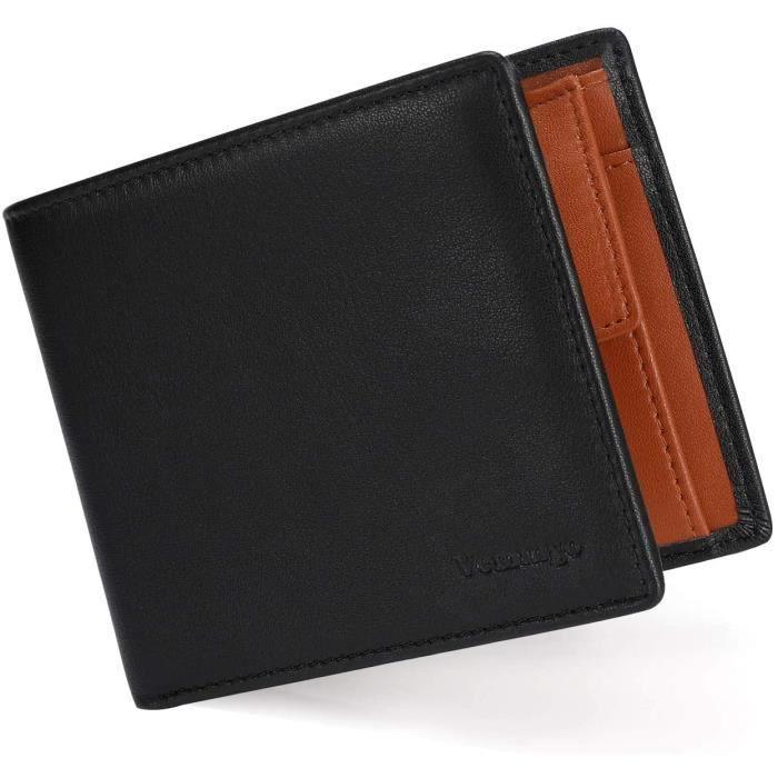 Portefeuille Homme Porte Monnaie Classique avec Blocage RFID Etui à Carte Crédit - Portefeuille en Cuir PU à Bouton Pressé,Cadeau d