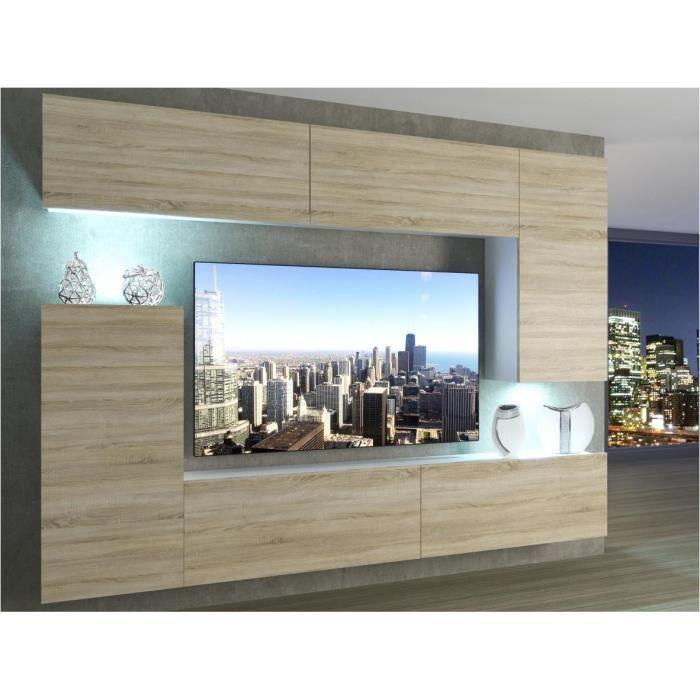 SLIDE - Ensemble meubles TV - Unité murale style moderne - Largeur 250 cm - Mur TV à suspendre - Aspect bois - Sonoma