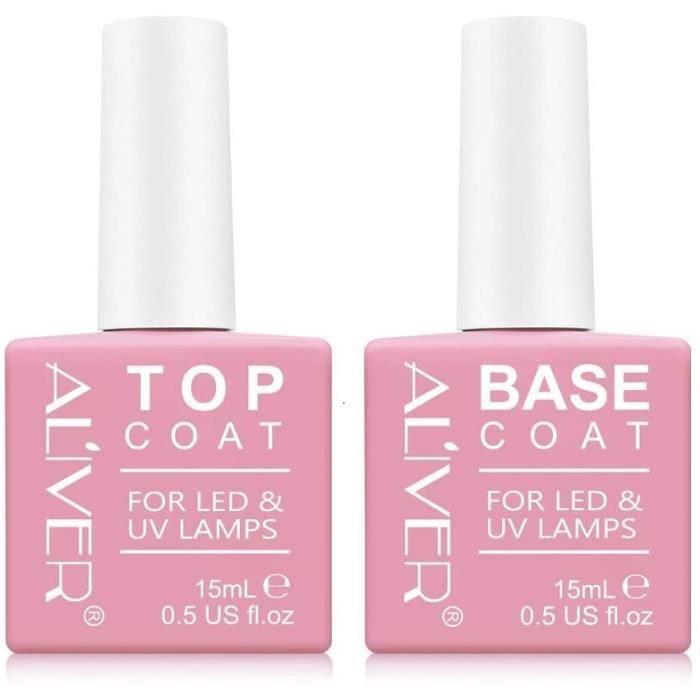 2x15ml Top Base Coat Semi Permanent UV LED Soak Off Vernis à Ongles Base et Top Coat Vernis Gel Nail Polish Set Manucure Kit