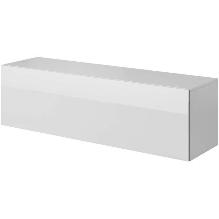 Meuble TV Armoire Tele Table Television Suspendu Fay - 140 cm - Blanc[39]