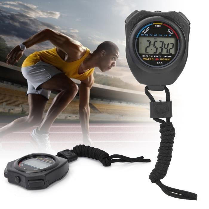 2Pcs Sport Chronomètre Timer, Multifonction Numérique LCD Portable Chronomètre pour Racing/Running
