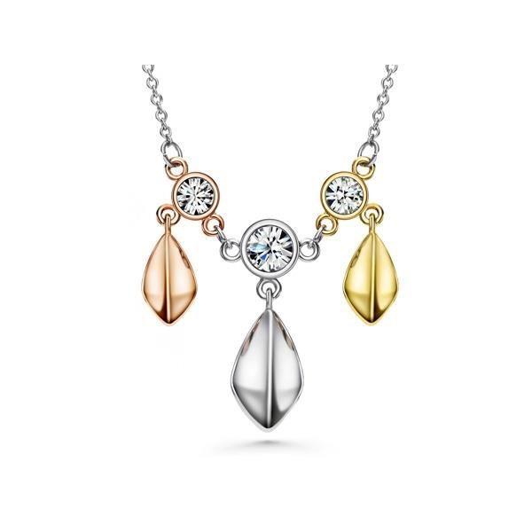 Collier 3 Ors Jaune, Blanc et Rose, Cristal Swarovski Elements Blanc et Plaqué Rhodium