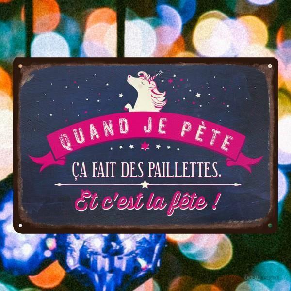 Plaque décorative métallique licorne paillettes - Cadeau Maestro Bleu Nuit Et Rose