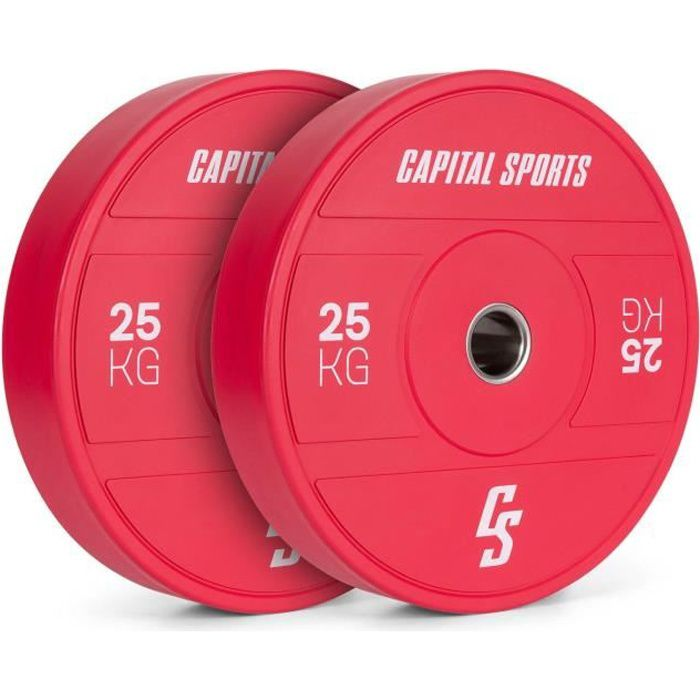 Disques pour haltères, barres Cross-Training et olympiques -CAPITAL SPORTS Nipton 2021 -2x 15kg - Rouge