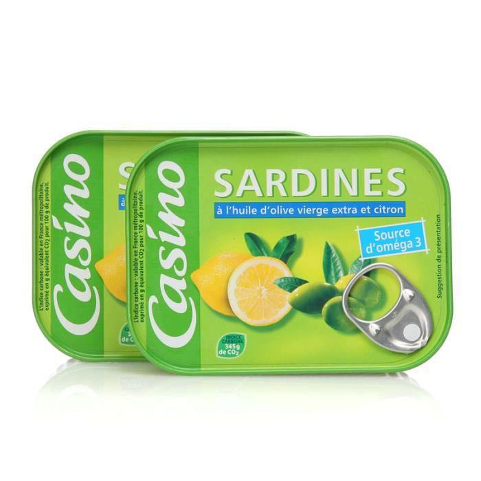 Lot de 2 sardines à l'huile d'olive et citron - 135 g