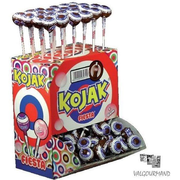 Sucette Kojak fourrée Bubble gum Cola. Sachet de 100 Pièces.
