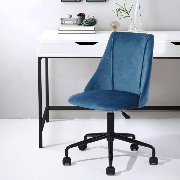 Chaise de bureau Velours Métal Bleu Noir Réglable Pivot Home Office Moderne Tendance Design Ergonomique Confortable