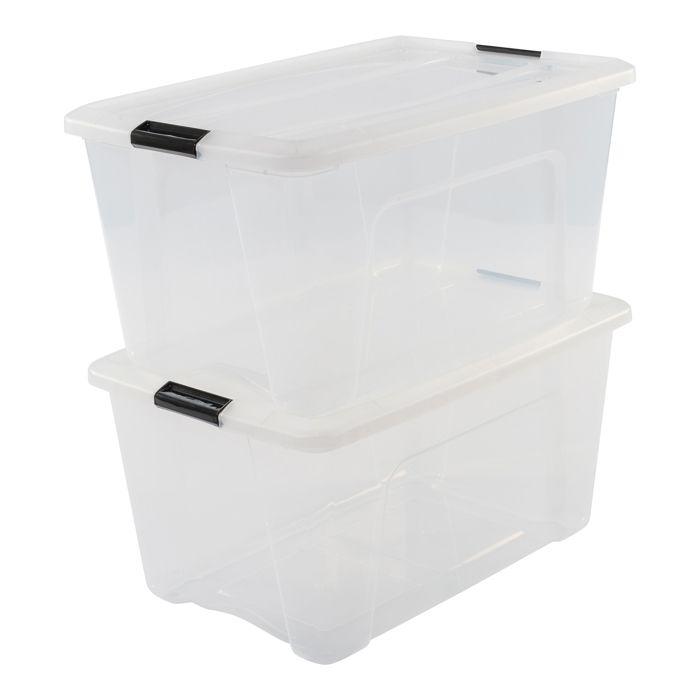 Iris Ohyama - Lot de 2 boîtes de rangement empilables New Top Box NTB-45. Plastique, transparent, 45 L, 58 x 39,5 x 36,5 cm