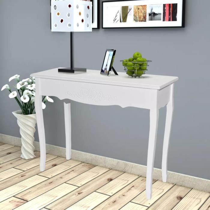 Table de console extensible Table d'Appoint Table d'entrée contemporain et coiffeuse Blanc