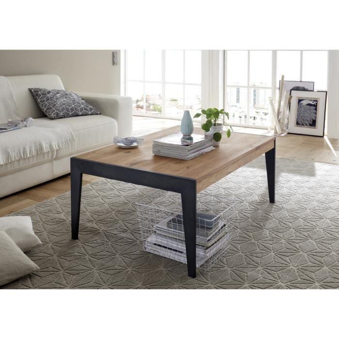 Table basse en chene massif avec pied en métal laqué noir - L102 x H43 x P73 cm