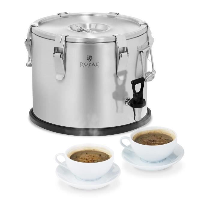 Conteneur isotherme robinet de vidange Royal Catering RCTP-15DT (15L, inox brossé, double paroi d'isolation, conservation de 6 à 8h)