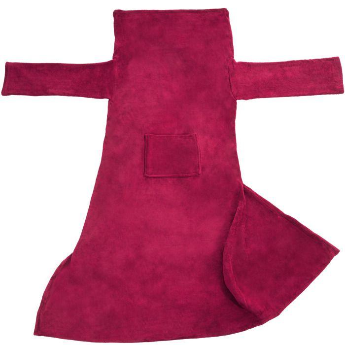 TECTAKE Plaid Canapé avec Manches Doux en Polyester 200 cm x 170 cm Rouge
