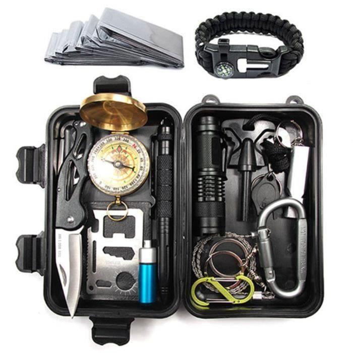 TD® Kit de Survie Multifonctionnel Trousse d'Urgence pour extérieur avec 15 outils/ Kit de survie/Accessoire de voyage/kit de voyage
