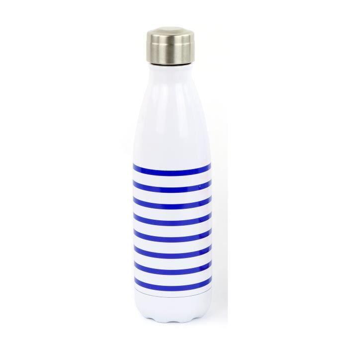 YOKO DESIGN Bouteille isotherme Marinière - Bleu - 500 ml