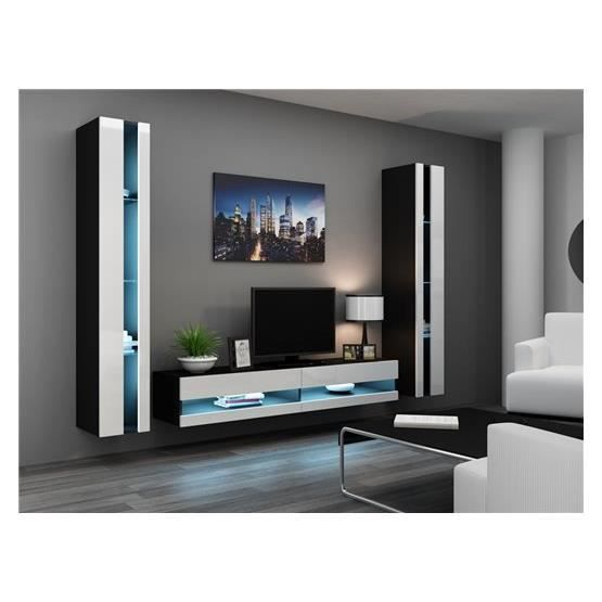 ensemble meuble tv mural olermo noir et blanc achat vente meuble tv meuble tv olermo nr bl. Black Bedroom Furniture Sets. Home Design Ideas