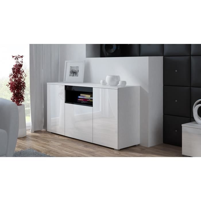 commode de salon design elva blanc noir achat vente buffet bahut commode de salon design. Black Bedroom Furniture Sets. Home Design Ideas