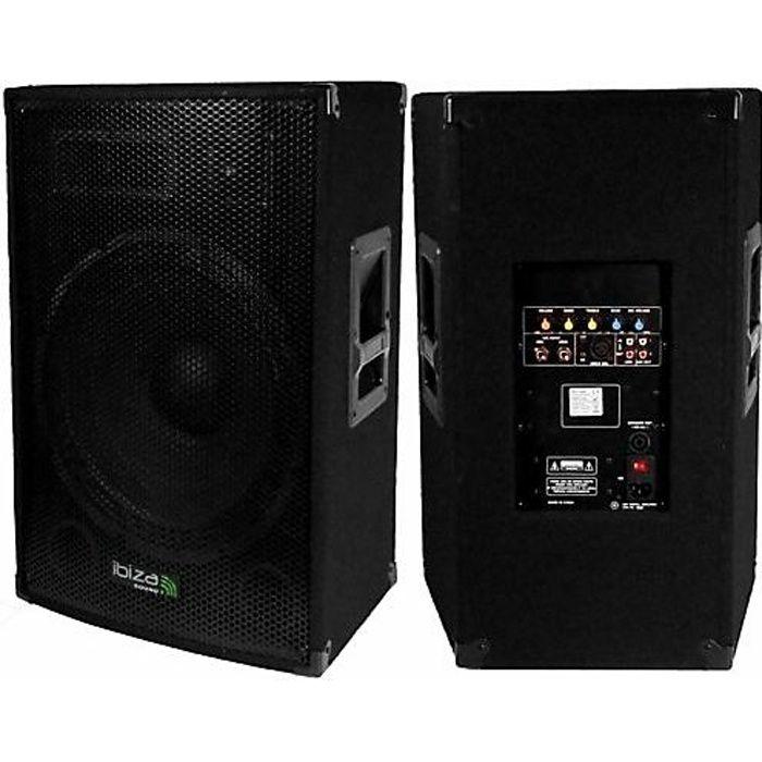 ENCEINTE ET RETOUR Enceinte amplifiée 800 W IBIZA SOUND DISCO-15-AMP