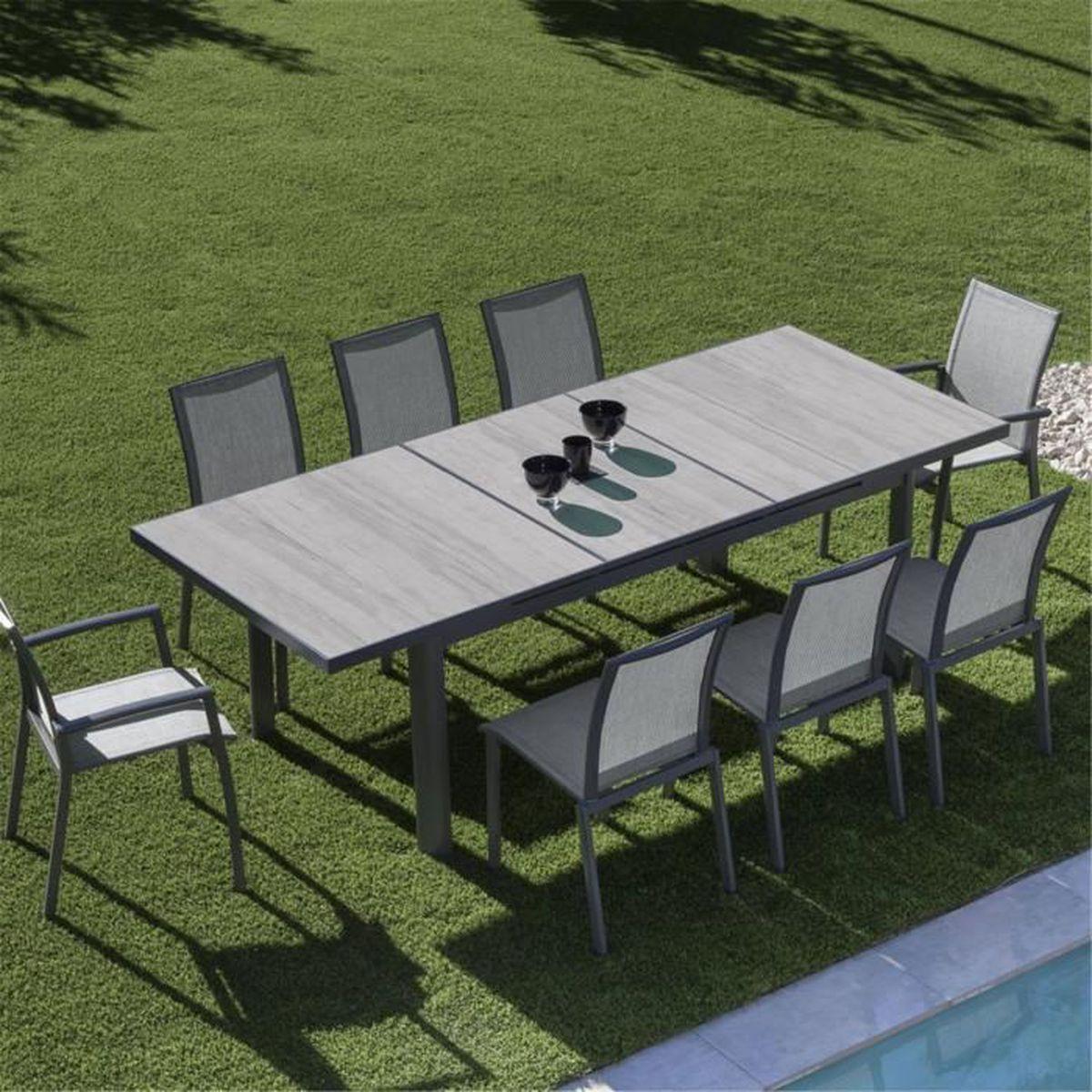 Trefle Table de jardin extensible grise en céramique (6 à 10 ...