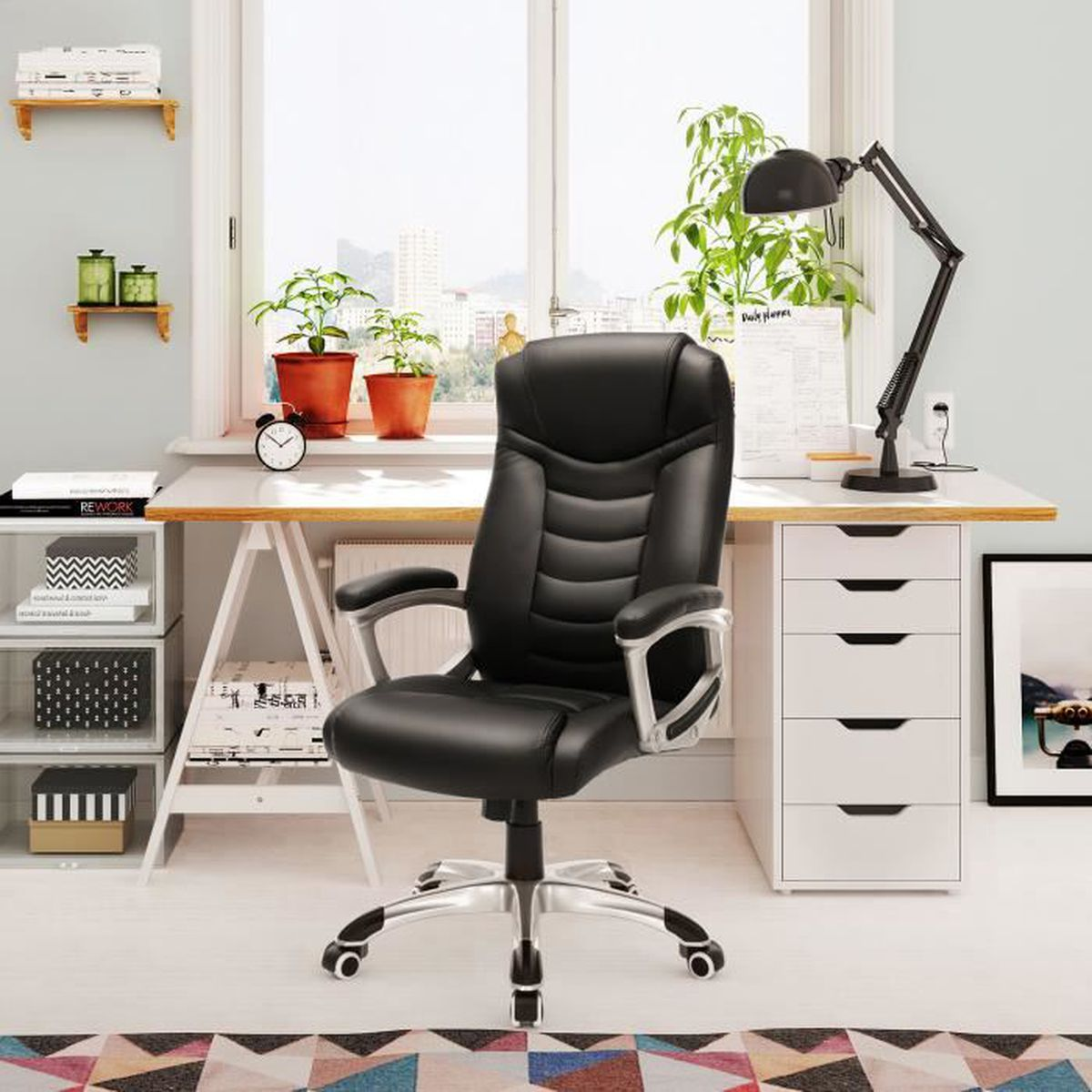 fauteuil de bureau marvin noir en06 jornalagora. Black Bedroom Furniture Sets. Home Design Ideas