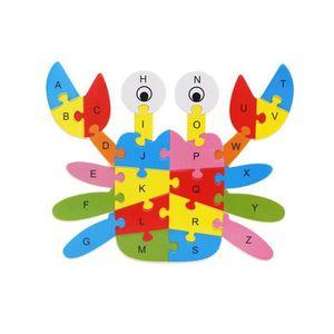 PUZZLE Puzzle de 26 lettres en bois avec animaux Ya-136
