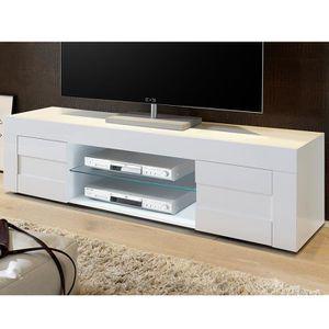 MEUBLE TV Meuble TV blanc laqué brillant design NEWLAND LED