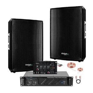 PACK SONO SONO Table de Mixage USB + 2 Enceintes 2X700W Ampl