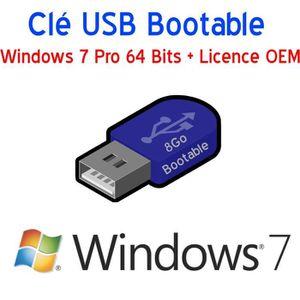 CLÉ USB Clé USB 8Go Bootable Windows 7 Pro 64 Bits + Licen